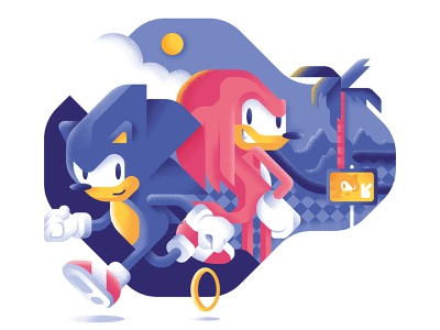 Best rivalries of the 90's - Sonic and Knuckles knuckles sonic the hedgehog videogame videogames 90s sonic geometric illustration comic cartoon colors vector sho studio illustration sail ho studio