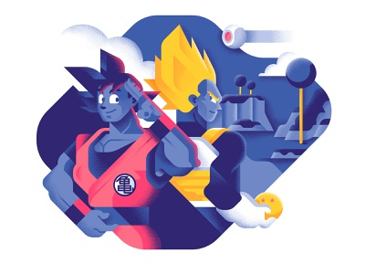 Best rivalries of the 90's - Goku and Vegeta manga 90s comic cartoon geometric illustration vegeta dragon ball z goku vector colors sho studio illustration sail ho studio