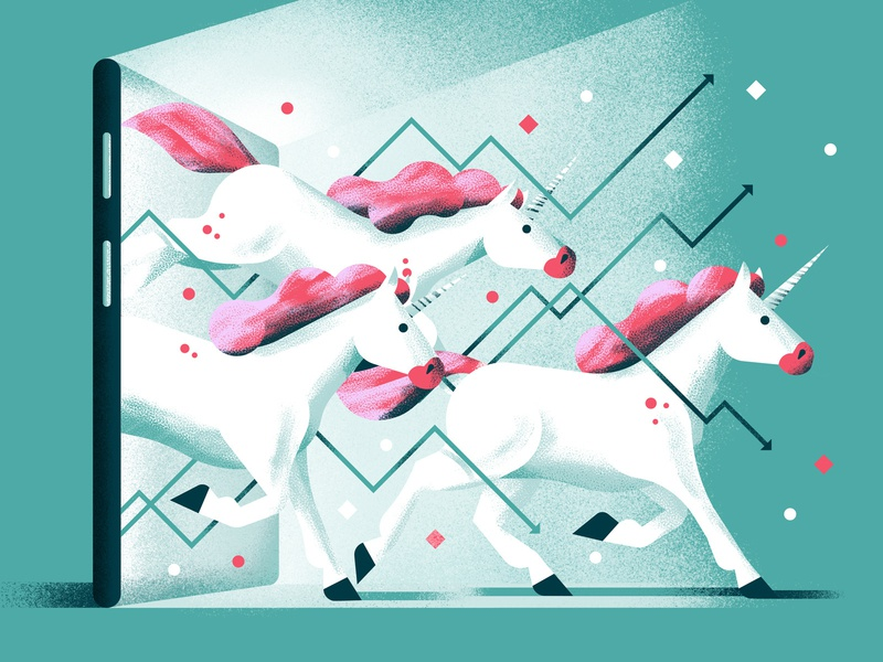 IPO texture tech company unicorn technology finance fintech tech ipo editorial illustration vector sho studio illustration sail ho studio