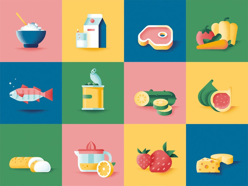 Whirlpool - Momenti da non sprecare fish meat fruit cheese iconset icons sail ho studio illustration sho studio vector texture whirlpool food sustainability kitchen educational