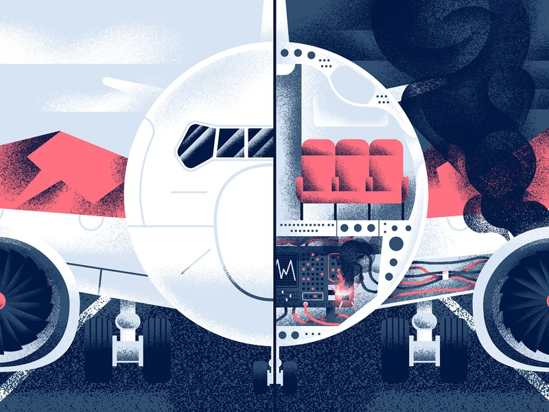 Boeing 737 Max Crisis - Quartz texture malfunction editorial illustration cutaway boeing airplane aircraft 737 editorial vector sho studio illustration sail ho studio