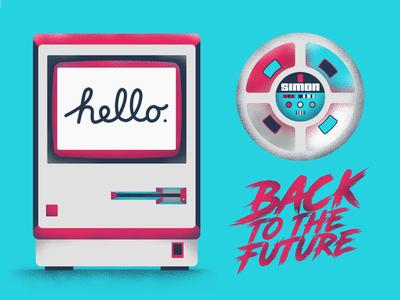 80's pop culture galore hello simon game back to the future gradient typo colors vector sho studio illustration sail ho studio
