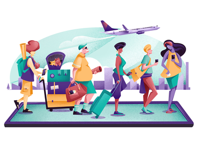 Apps On The Radar - Travel tourist travellers phone characterdesign characters booking journey app traveling fly flight editorial illustration editorial colors vector sho studio illustration sail ho studio