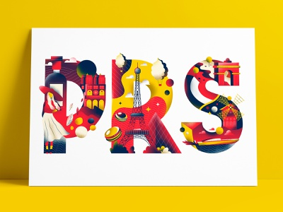 Paris for Illustation print project paris cities colors editorial illustration typography editorial sho studio vector illustration sail ho studio