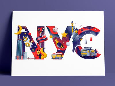 New York City for Illustation print project newyork typography print editorial illustration editorial colors vector sho studio illustration sail ho studio