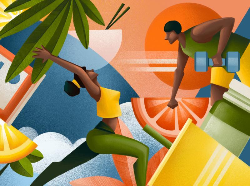 5280 Magazine wellbeing wellness exercise vitamins shake fruit gym healthcare health sport editorial illustration editorial colors sho studio illustration sail ho studio