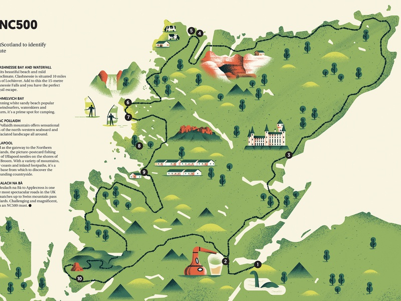 Map of Scotland - Harley Owners Group Magazine vectore scotland route icons set editorial illustration texture colors map editorial sho studio illustration sail ho studio