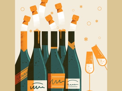 Happy New Year happy new year wine label winery glass cork champagne wine texture sho studio illustration sail ho studio