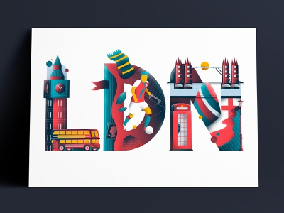 London typography illustration double decker football big ben london type typography illustration sail ho studio