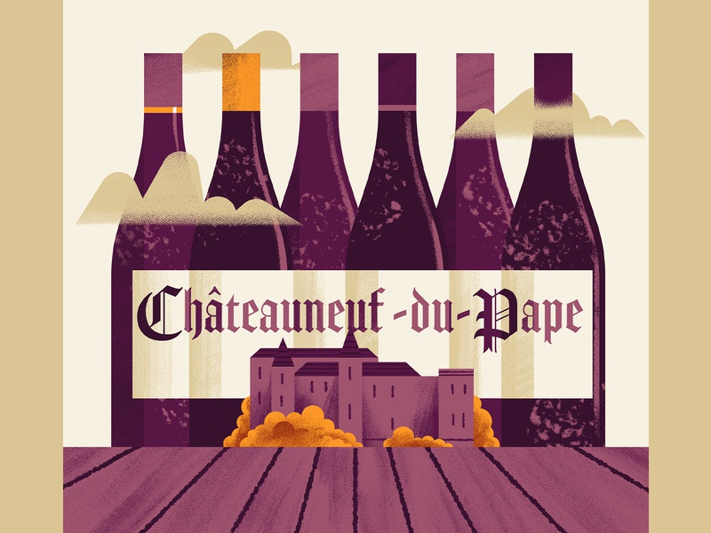 WineExpress - Chateauneuf du Pape chateau wine bottle wine editorial illustration texture editorial colors vector sho studio illustration sail ho studio
