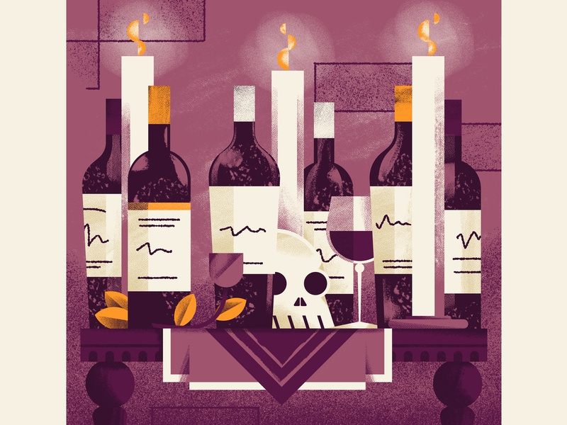 WineExpress - Cult Napa Cabernet Sampler skull wine glass candles wine bottle wine texture editorial illustration editorial colors vector sho studio illustration sail ho studio