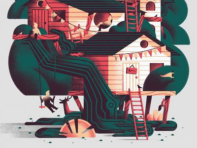 Habitat - Treehouse wood wild texture vector illustration sho studio house habitat sail ho studio