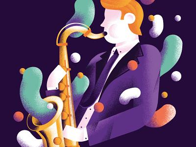 The power of soul music poster music player saxophone poster music band band sax soul music editorial colors vector sho studio illustration sail ho studio