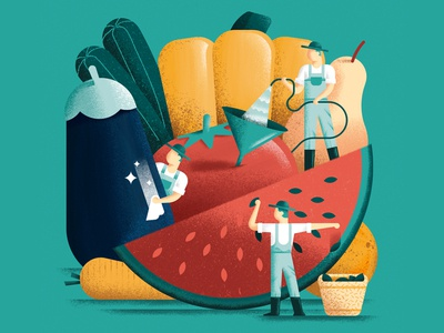 Fruit and vegetables newspaper editorial illustration editorial colors vector sho studio illustration sail ho studio