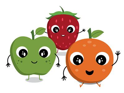 Illustrated Fruit playful fruit bold colors design vector illustration
