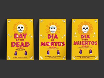 Day Of The Dead Run run international poster design bold colors virtual vector fundraiser