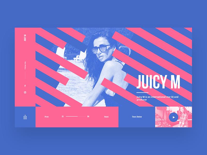 Juicy M Main Page Concept juicy m dj blue and pink web site web design candy web ux ui shot design concept