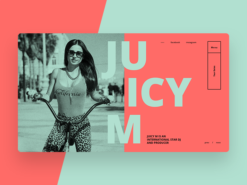 Juicy M Main Page Concept #2 web site web design juicy m web ux ui shot dj design candy green orange