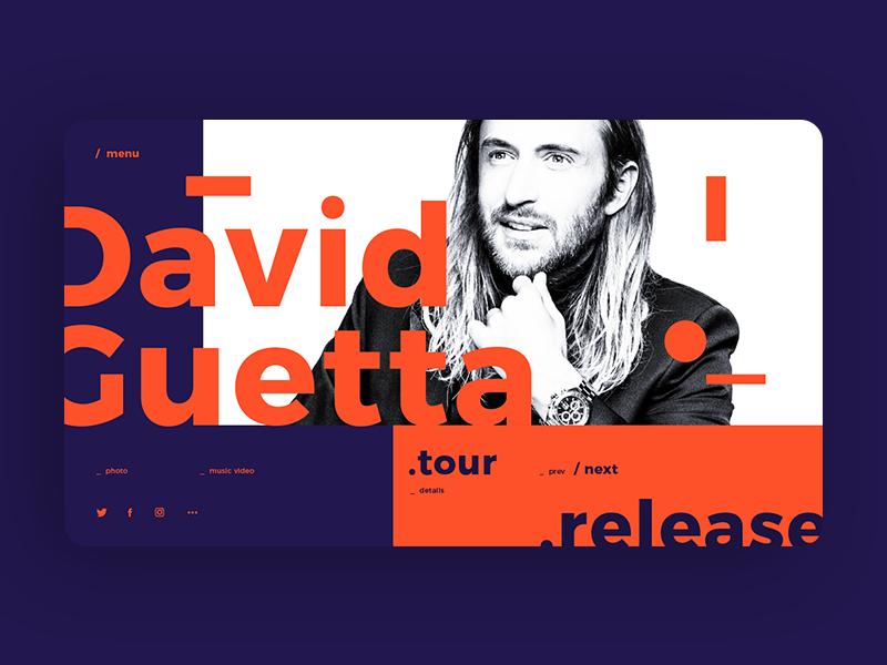 David Guetta Main Page Concept web site web design david guetta typography web ux ui creative purple music dj orange