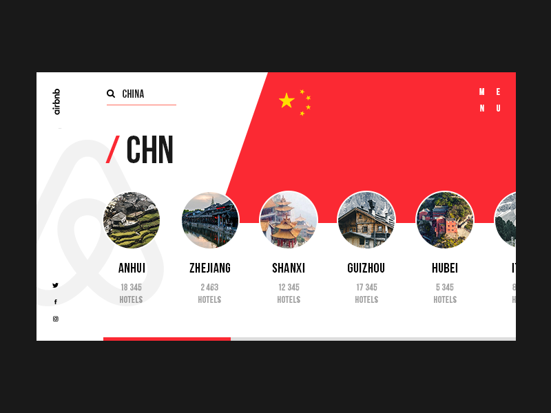 Airbnb Website Redesign Cocnept travel tour web site red airbnb china search bar search creative web design typography ux ui web booking