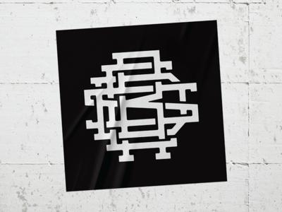 Red's Bike Shop monogram sticker oklahoma tulsa corporate identity badge minimal modern grid monogram rebrand branding design logo