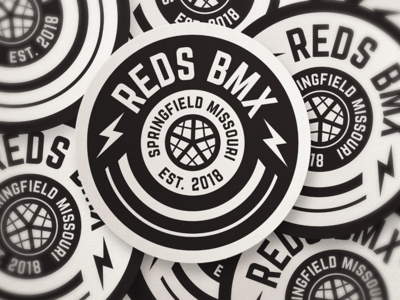 Red's Bike Shop badge design on stickers oklahoma tulsa corporate identity badge minimal modern grid monogram rebrand branding design logo