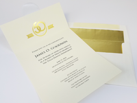 Gold foiled anniversary invitation and envelope