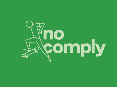No Comply Skateboard Illustration