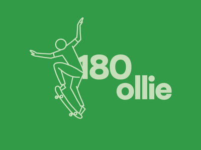 180 Ollie Skateboard Illustration