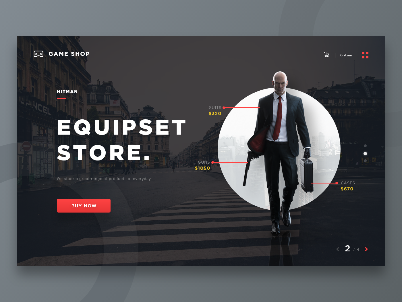 Game Store Landing Page - Exploration ui store hitman dark web gamers game art landing page user interface web design design clean visual ui ux