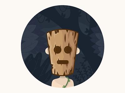 Woodman night dark vector illustration