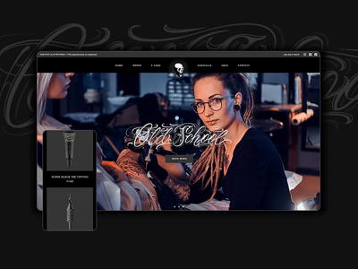 Brdg Tattoo Studo designs responsive mobile shop tattoo ordering onlineshop products branding logo black dark lettering typography animation ux web ui website design