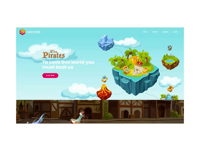 Gaming Demo website visuals lettering paralax colors neon isle pirate galaxy candycane strategy 3d pc mobile gaming illustration animation