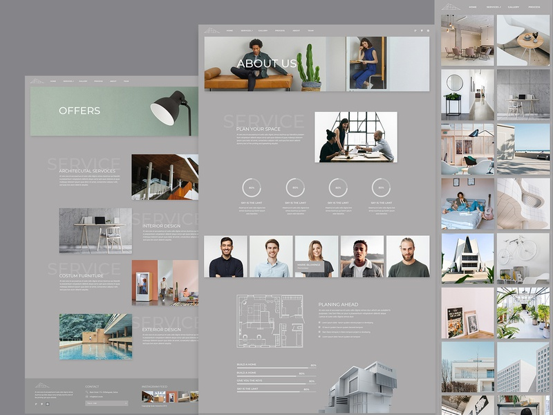 Inner pages from Brdg Architecture Studio innerpages clean studio gray monochromatic atmosphere architecture architect vector ui ux web website design