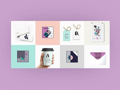 Mintus Details colorfull mint purple palette contrast lettering logo mockup branding illustration website design