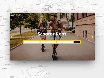 Brdg Scooter Rental traffic urban city travel maps app contact blackandyellow vehiclerental vehicle booking online rental scooter animation ui web website design