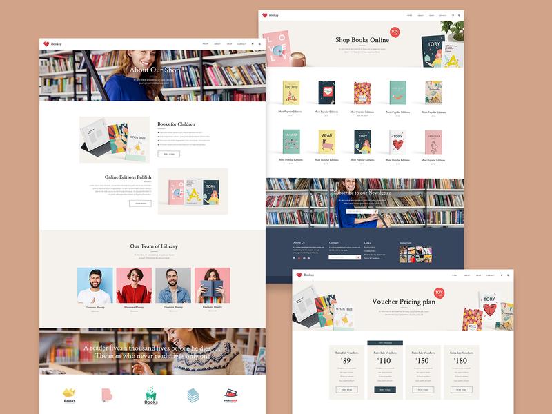Bridge Book Shop Inner Pages illustrated ourteam about us pricing order onlineshop bookshop books vector illustration web ui website design