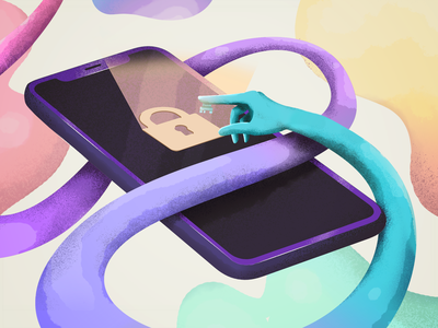 Locker Illustration unlock lock security fingerprint biometric ios colors design adobe photoshop illustration