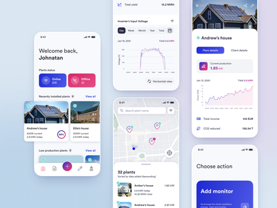 Solplanet user experience user interface application android ios ux mobile app design mobile ui mobile clean graph map dashboard solar figma ui design ui design app