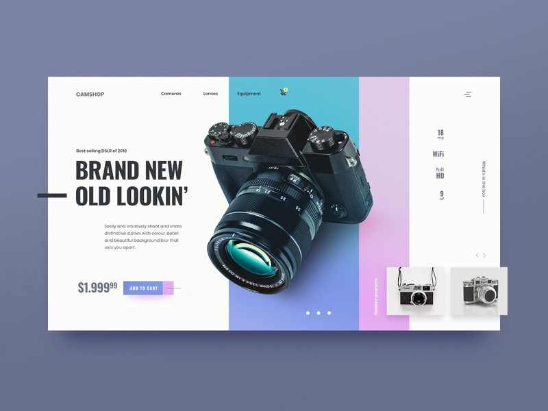 Daily UI 012 - E-Commerce Shop (Single Item) adobe photoshop adobe webshop e commerce camera design ui design daily ui ui 012