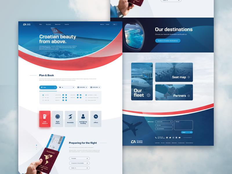 Croatia Airlines website redesign concept web landing page webdesign website art direction uxui ux redesign branding ui adobe photoshop ui design