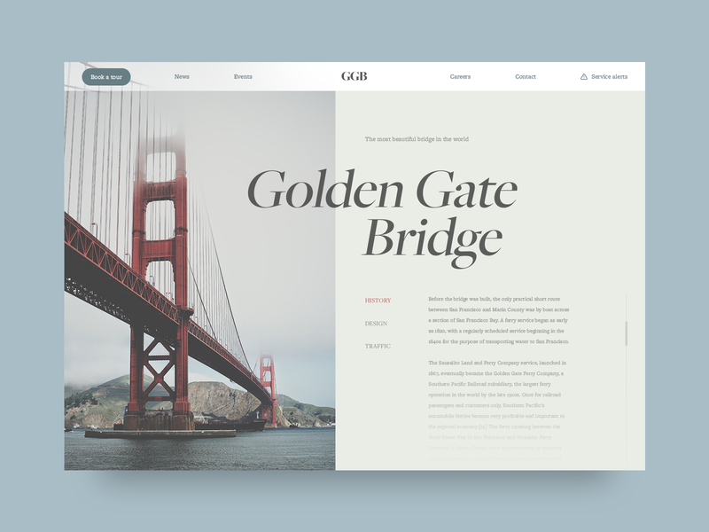 Golden Gate Bridge website landing page web typography adobe photoshop adobe ui daily ui design ui design