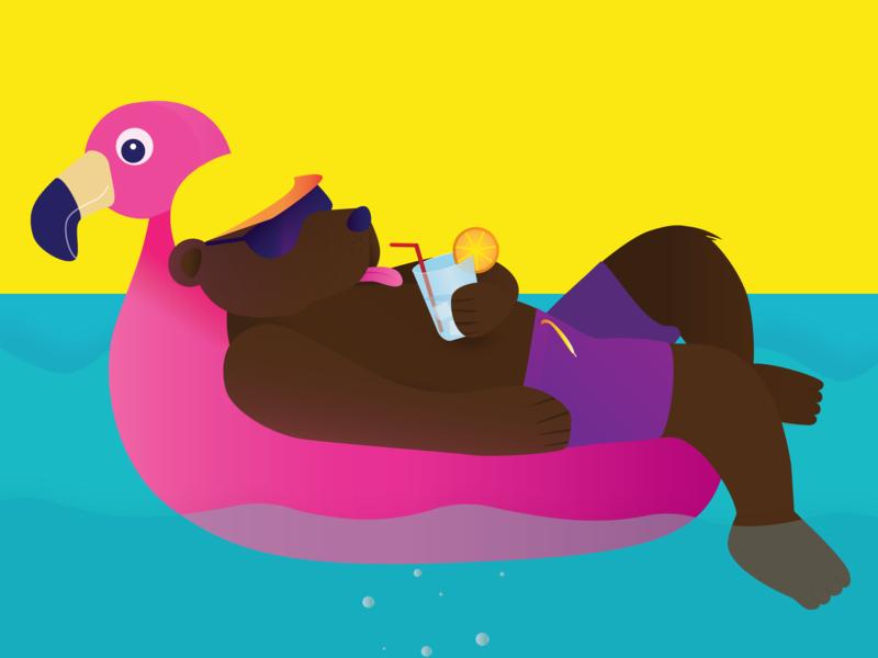 Welcome Summer chill vector illustration vectors drink flamingo bear pool summertime summer