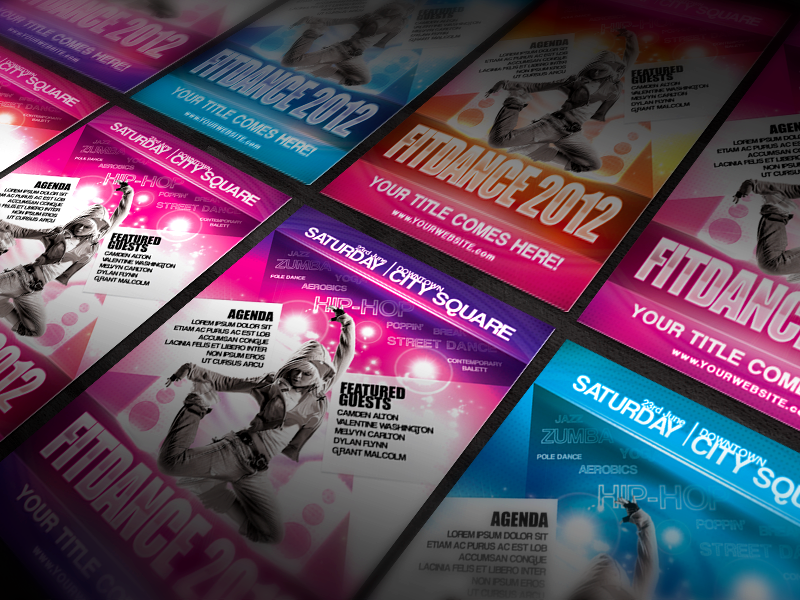 Multipurpose Fitness Flyer aerobic blue club colorful contest dance disco event fitness flyer hot multipurpose orange pink professional psd purple red sport street woman zumba
