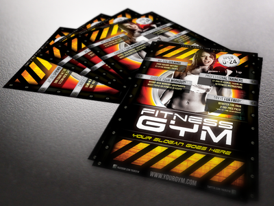 Fitness Gym flyer template a4 body building colourful event fire fitness flyer gym modern print professional quality red sport training woman workout yellow