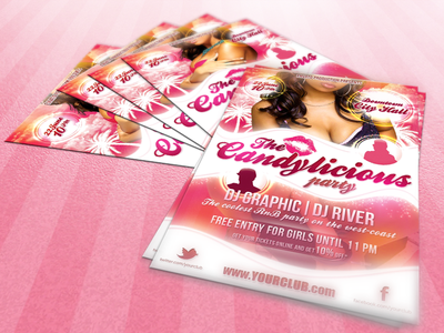 Candylicious Party flyer template pink candy party club flyer psd template graphicriver sexy download print