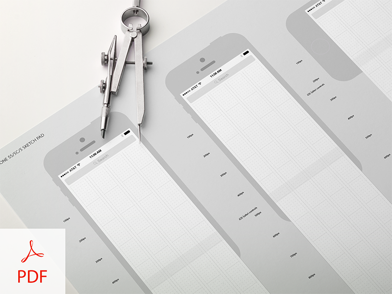 UX iPhone 5x Sketch Pad iphone5 grid wireframe sketch pad download
