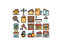 Real Estate Icons - Retro Style