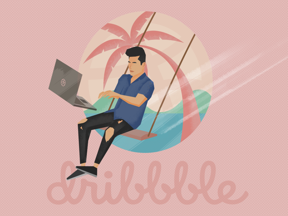 First shot philippines first shot isometric design self promo beach swing laptop summer island procreate vector design illustration