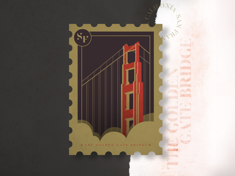 The Golden Gate Bridge city illustration red golden norcal california sf citybadges citybadge stampdesign stamp badge badgedesign san francisco goldengatebridge ggb illustration